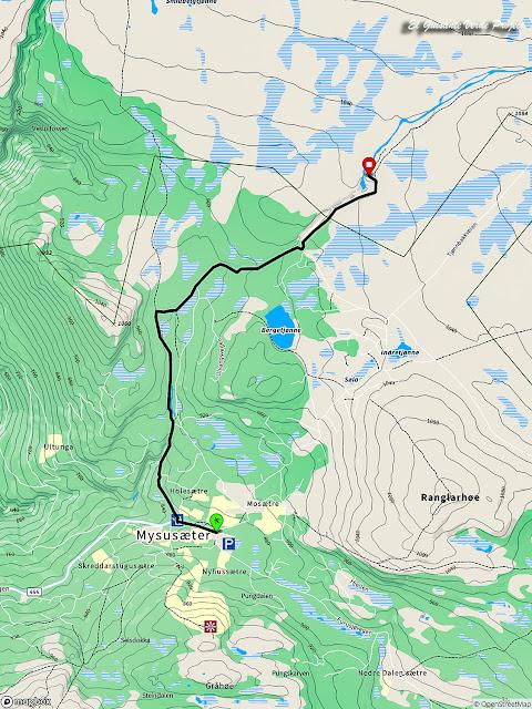 Mapa de la Ruta Brudesloret en Rondane - Noruega