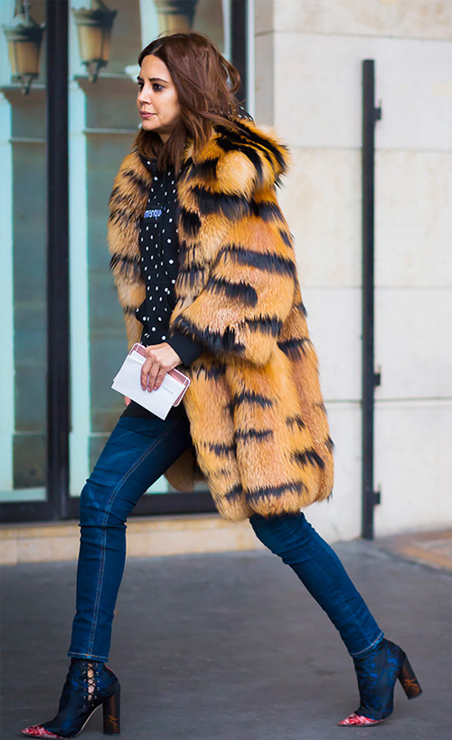 long faux fur coat street style