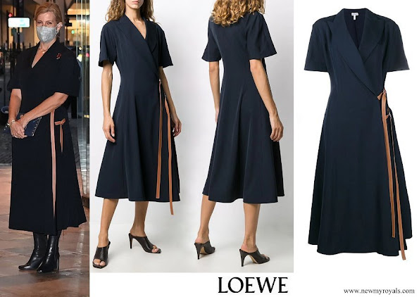 The Countess of Wessex wore LOEWE wrap-front midi dress