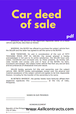 Car deed of sale form