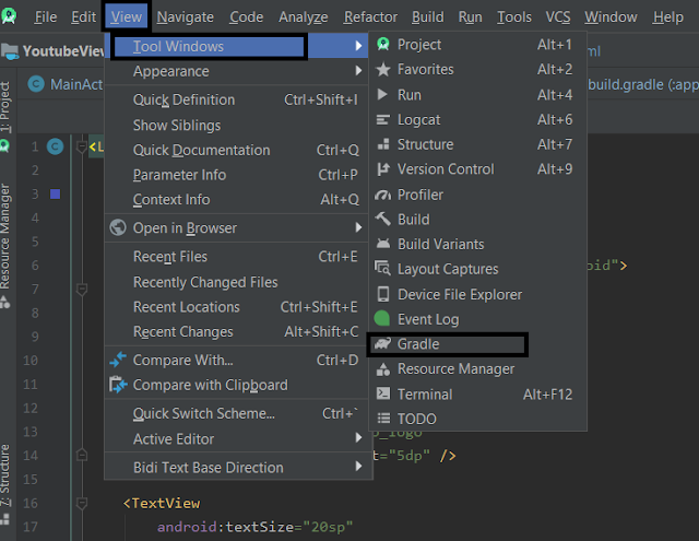 Open Gradle from Android Studio