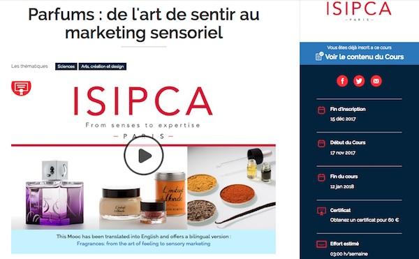 Capture d'écran de présentation du Mooc Parfums