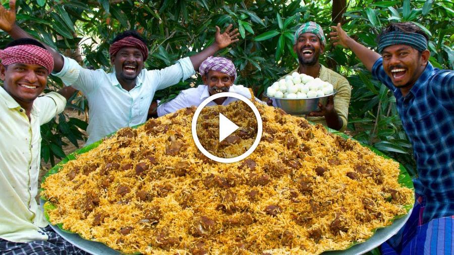 MUTTON BIRYANI | Layered Mutton Biryani Recipe Cooking In Village | Goat Biryani Cooking & Eating