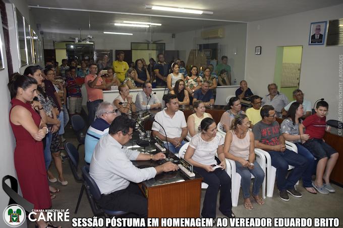 Câmara Municipal de Cariré-CE realiza sessão solene póstuma pelo falecimento do vereador Eduardo Durval de Brito