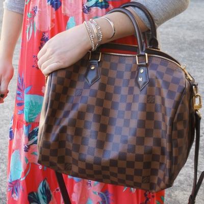 floral maxi dress, Louis Vuitton Damier Ebene 30 speedy bandouliere | AwayFromTheBlue