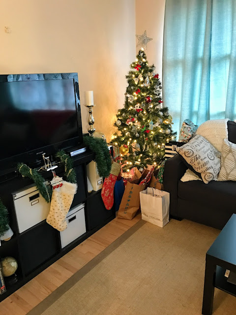 living room jolly home christmas tree ikea alenya gray couch expedit lack lights blue