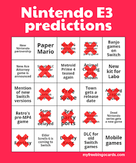 Nintendo E3 2019 predictions bingo card