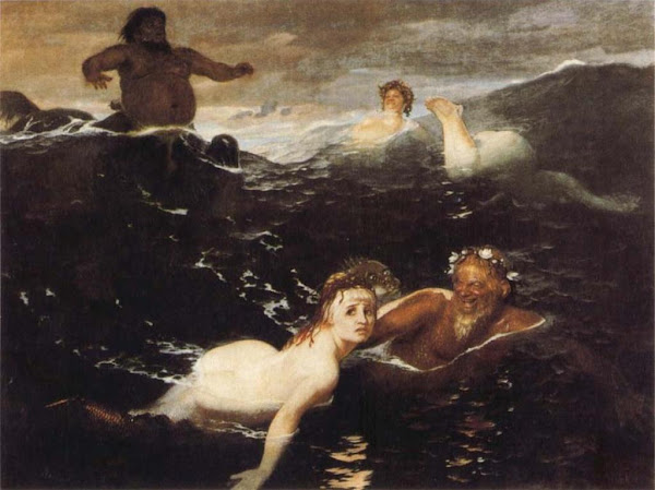 The Waves by Arnold Bocklin, Classical mythology, Greek mythology, Roman mythology, mythological Art Paintings, Myths and Legends