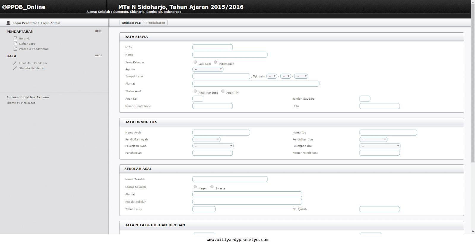 Sistem Informasi PPDB Berbasis Web (PHP)