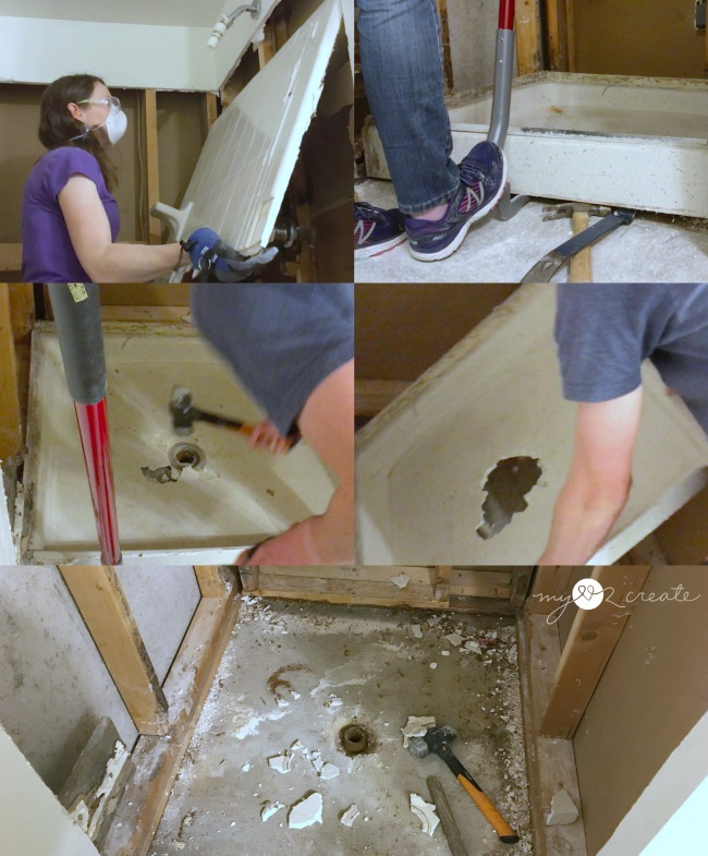 removing shower tile and shower pan