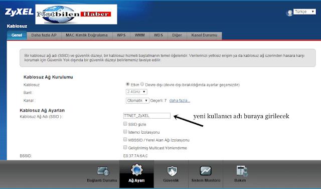 zyxel modem wifi kullanıcı adı değiştirme