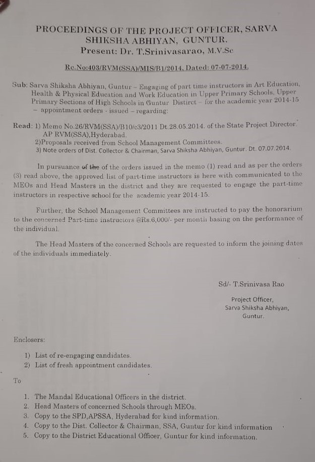 Guntur District - 2014 Appointment Orders