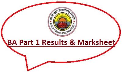 DDU Gorakhpur BA Part 1 Result 2021