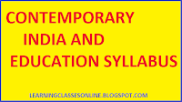 b.ed syllabus pdf, contemporary india and education syllabus