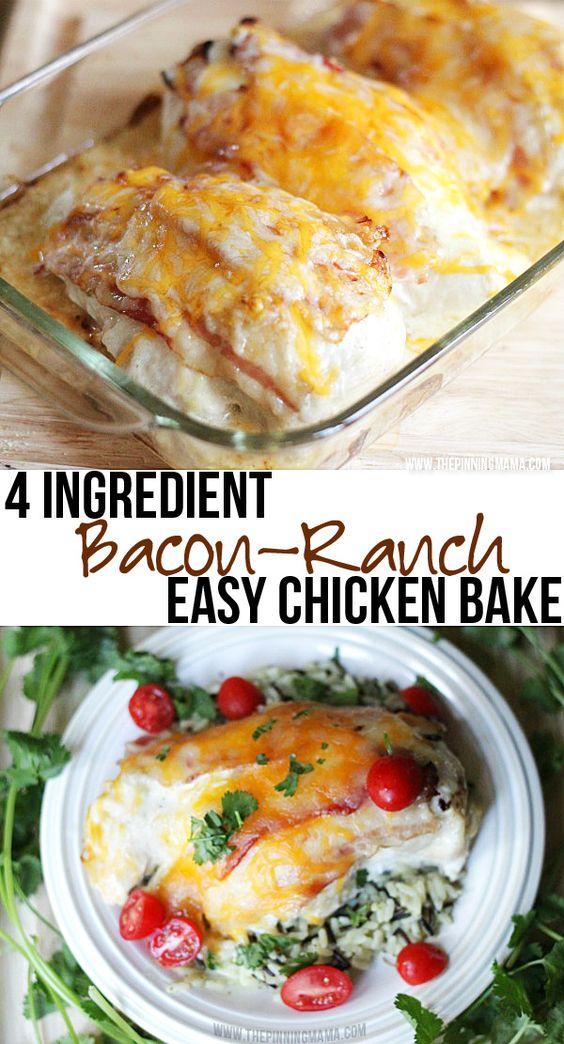 {Easy Dinner Recipe} 4 Ingredient Bacon Ranch Chicken Bake #recipes #dinnerrecipes #deliciousdinnerrecipes #fastdeliciousdinnerrecipes #food #foodporn #healthy #yummy #instafood #foodie #delicious #dinner #breakfast #dessert #lunch #vegan #cake #eatclean #homemade #diet #healthyfood #cleaneating #foodstagram