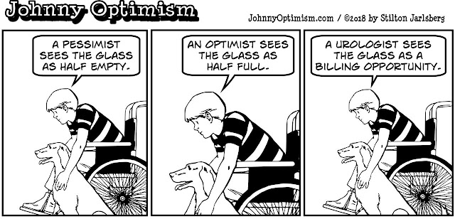 johnny optimism, medical, humor, sick, jokes, boy, wheelchair, doctors, hospital, stilton jarlsberg, glass half full, pessimist, urologist, urine, sample, specimen, cup