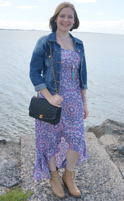 Autumn maxi dress acne pistol ankle boots denim jacket brunch outfit Brisbane bayside mum style | awayfromblue