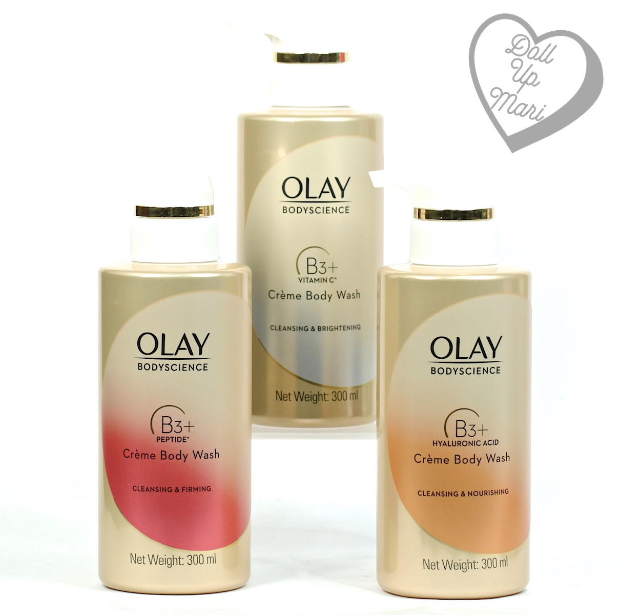 3 variants of Olay BodyScience Crème Body Wash side by side