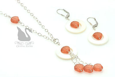 Tangerine Shell Mother of Pearl Necklace Set (NES3)