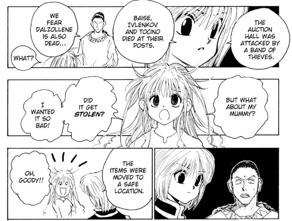 Kurapika and Squala told about Ivlenkov Baise and Dalzollenes death to Neon Nostrade who cares about the mummy and other body parts in the York New city auction