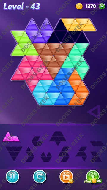 Block! Triangle Puzzle Master Level 43 Solution, Cheats, Walkthrough for Android, iPhone, iPad and iPod