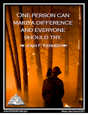 One person can make a difference and everyone should try.   - John F. Kennedy (firefighter looking into a forest ablaze]