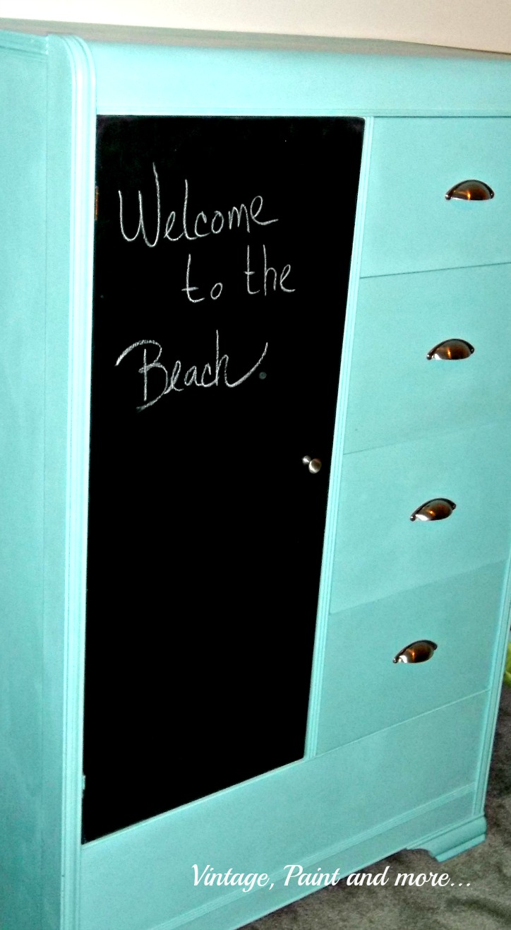 Vintage, Paint and more... thrifted armoir that is painted with chalk paint for a fun retro teen bedroom