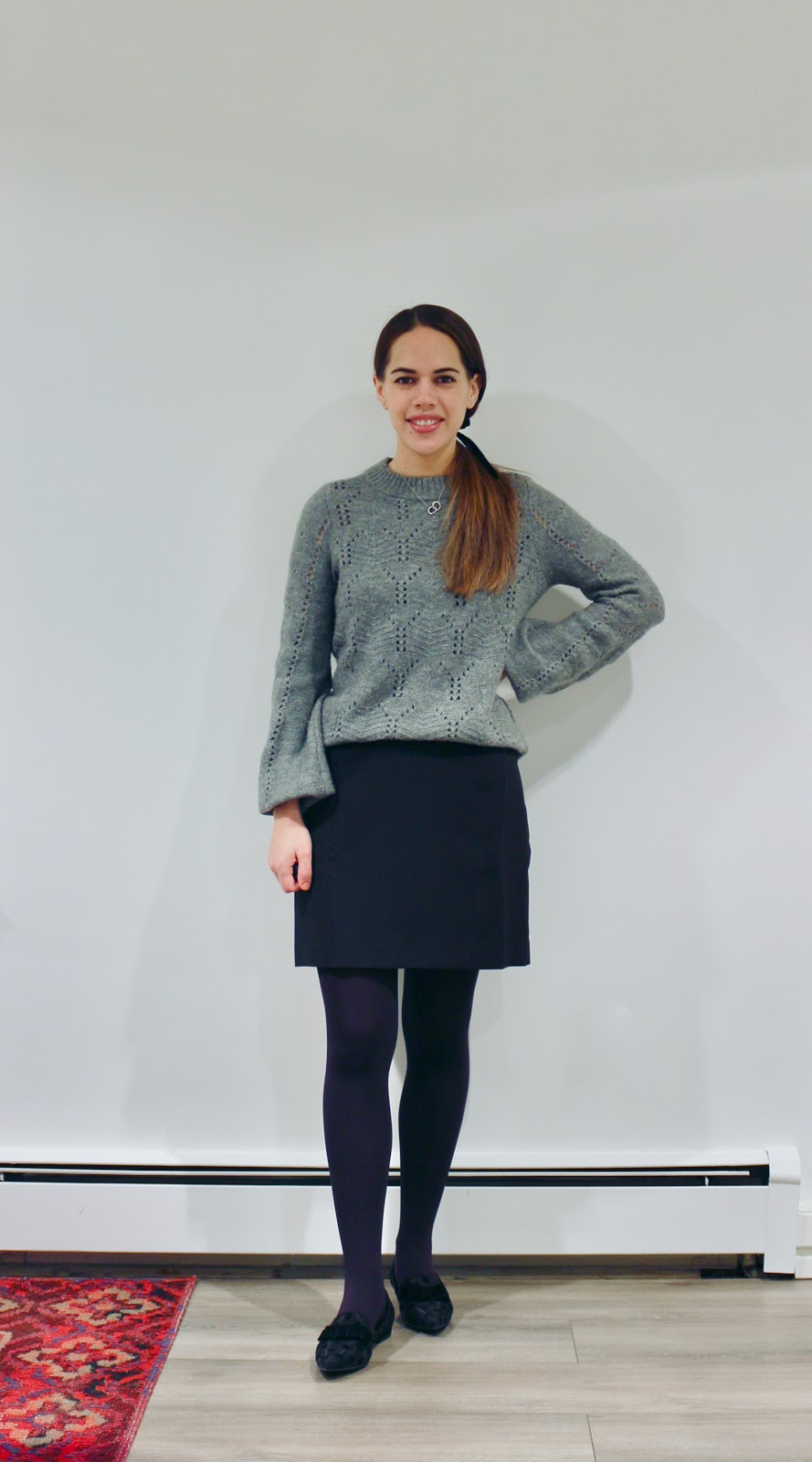 Jules in Flats - Grey Sweater + Velvet Bow (Business Casual Winter Workwear on a Budget)