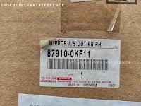 Harga dan Fisik : 87910-0KF11 Spion Kanan Fortuner VRZ