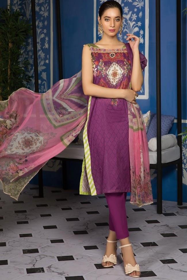 Warda Jamni color lawn suit Majestic breeze