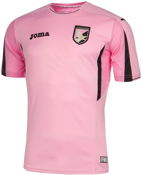 7c65302bb The new Joma Palermo 2015-2016 Away Jersey is mainly white with an  elaborated stripe panel on the front featuring both Palermo s iconic pale  pink and black