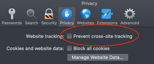 Safaris integritetsskydd hindrar kommentarer på bloggen - bugg när du försöke...