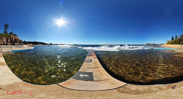 Collaroy ocean pool, headland and beach in full 360VR photography by Kent Johnson Travel photographer, Sydney, Australia.