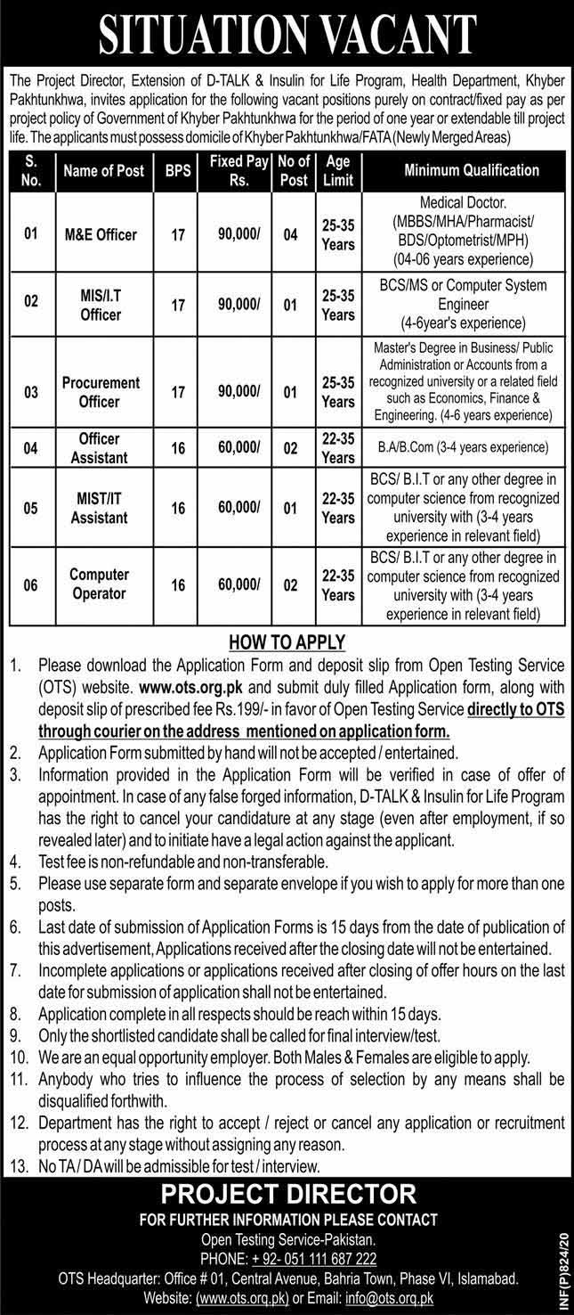 Health Department Govt Of Khyber Pakhtunkhwa Jobs For M&E Officer, MIS Officer