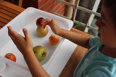 Criança a tentar empilhar maçãs