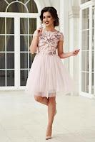 Rochie de ocazie in clos StarShinerS rosa scurta cu tul