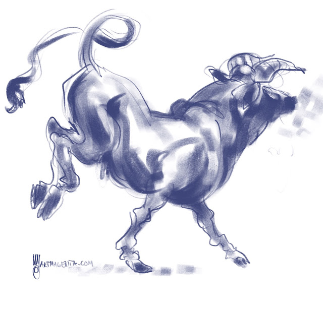 Bull charcoal drawing by Artmagenta