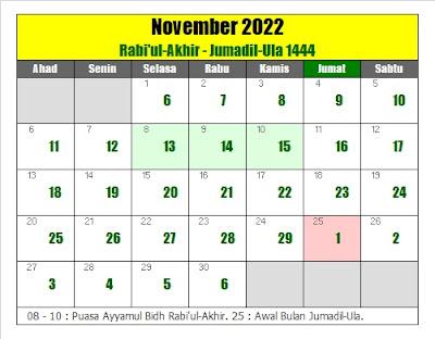 kalender islam hijriyah november 2022 masehi - kanalmu