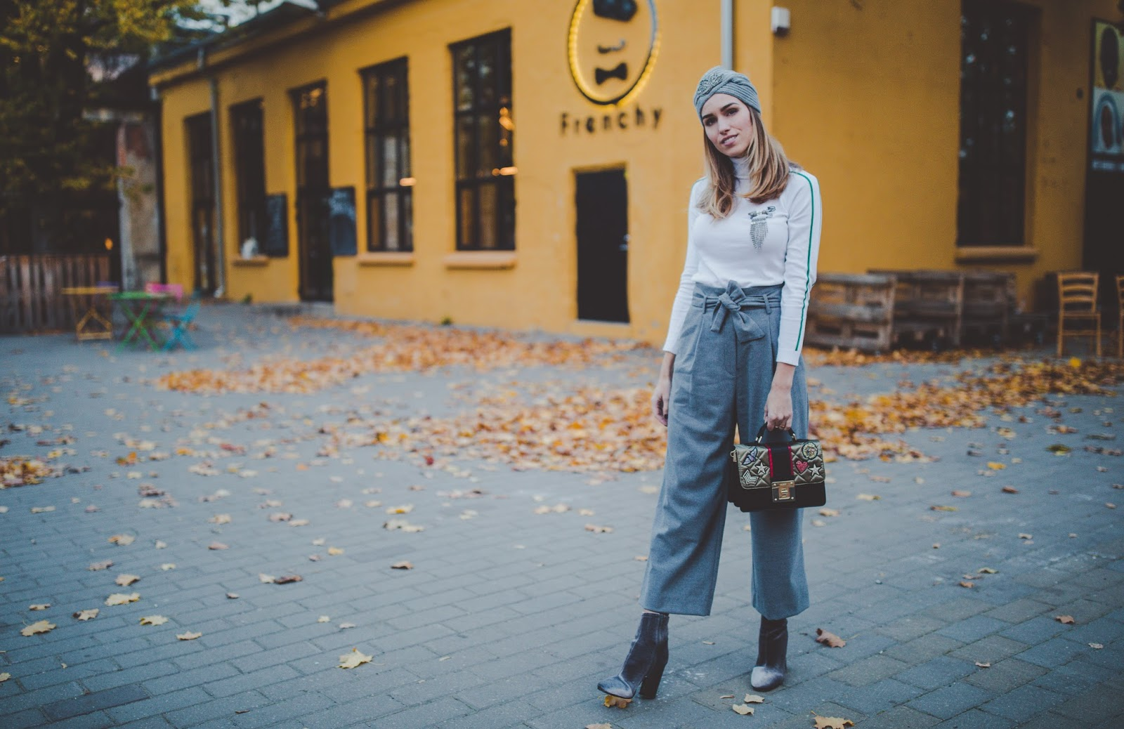 culotte pants velvet boots outfit fall