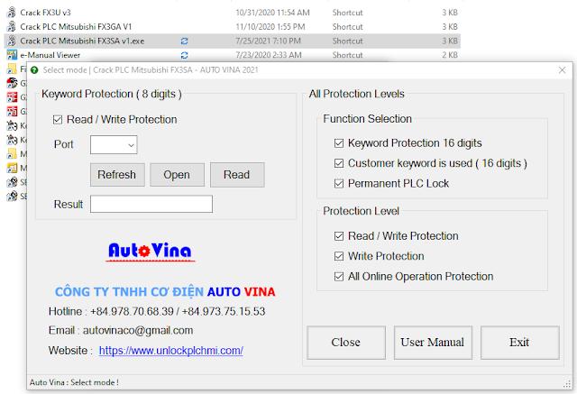 Software and user manual crack password PLC Mitsubishi FX3SA FX3S