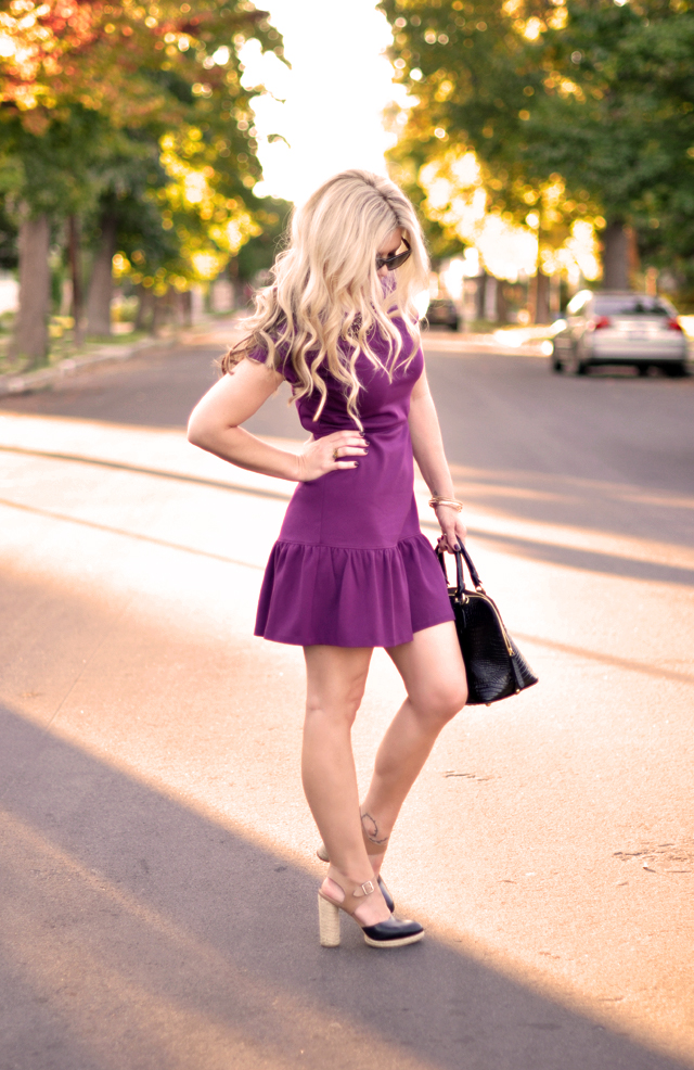 drop waist purple dress
