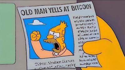 Alter Mann schreit Bitcoin an - Grandpa Simpson lustig