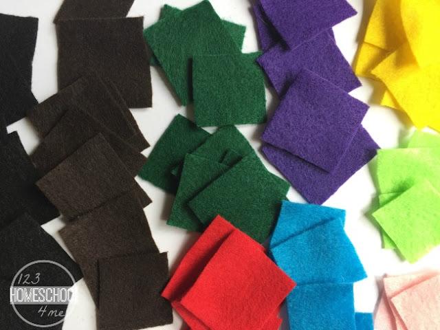 sort craft felt squares by color