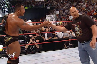 WWF Backlash 2000 - The Rock and Stone Cold celebrate with a beer