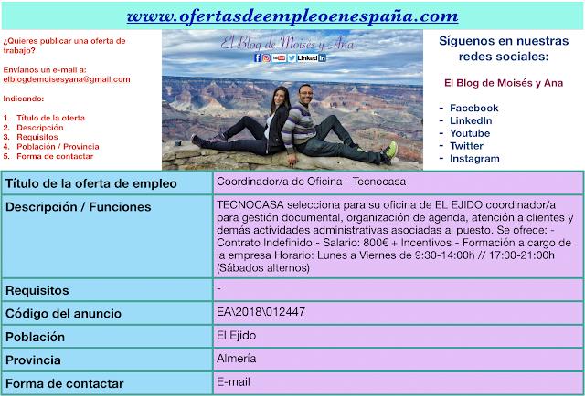 Ofertas de empleo en espa a coordinador a de oficina el for Oficina empleo almeria