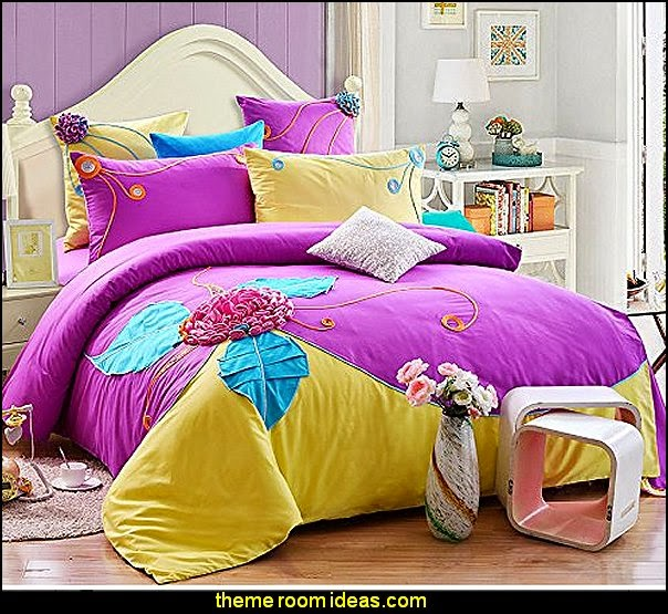 Purple  Bedding Set Cute Girls Bedding  Fairy Bedding Sets Purple Handmade 3D Flower Bedding Set Designer Bed Set