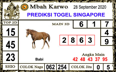Pred Mbah Karwo SGP Senin 28 September 2020