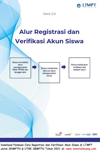 Download Panduan Cara Registrasi dan Verifikasi Akun Siswa di LTMPT 2021 daftar SNMPTN UTBK SBMPTN Tahun 2021 tomatalikuang.com