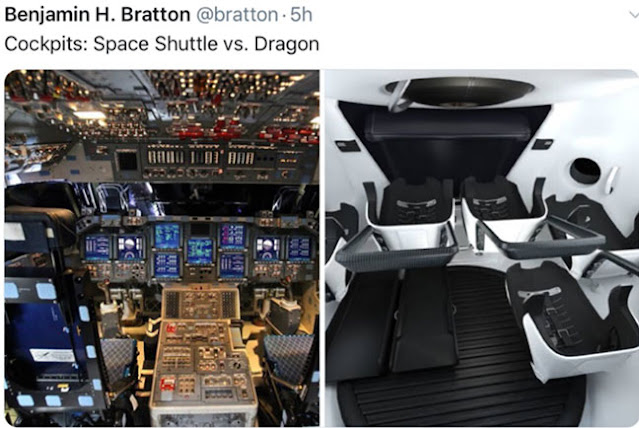 Comparing cockpit control for Shuttle and Dragon (Source: Tweet from B. Bratton)