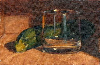 Oil painting of a green zucchini beside an Old Fashioned glass.